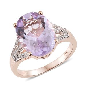 Rose De France Amethyst, Cambodian Zircon Vermeil RG Over Sterling Silver Split Ring (Size 11.0) TGW 8.74 cts.