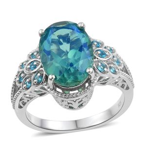 Peacock Quartz, Malgache Neon Apatite Platinum Over Sterling Silver Feather Ring (Size 5.0) TGW 6.48 cts.