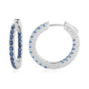 Simulated Sapphire Silvertone Inside Out Latch Back Hoop Earrings TGW 2.16 cts.