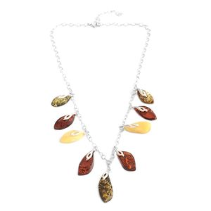 Multi Color Amber Sterling Silver Drop Necklace (18-20 in)