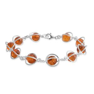 Baltic Amber Sterling Silver Caged Bracelet (8.50 In)