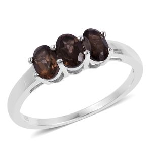 Brazilian Smoky Quartz Sterling Silver Trilogy Ring (Size 8.0) TGW 1.94 cts.