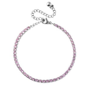 Simulated Pink Diamond Stainless Steel Tennis Bracelet (7.00 In) TGW 1.20 cts.