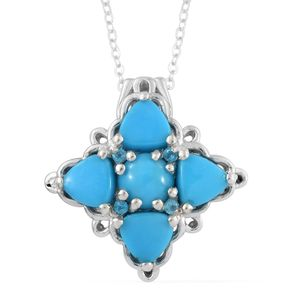 Arizona Sleeping Beauty Turquoise, Malgache Neon Apatite Platinum Over Sterling Silver Cross Pendant With Chain (20 in) TGW 3.21 cts.