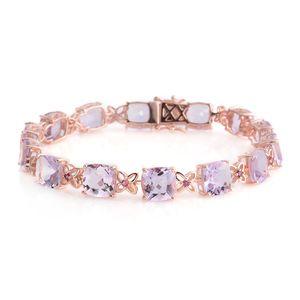 Brazilian Pink Amethyst, Rhodolite Garnet Rose Gold Over Sterling Silver Bracelet (9 in) TGW 36.570 Cts. TGW 36.57 Cts.