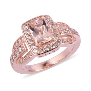 Marropino Morganite, White Zircon Vermeil RG Over Sterling Silver Ring (Size 8.0) TGW 1.72 cts.