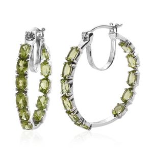 Hebei Peridot Platinum Over Sterling Silver Hoop Earrings TGW 10.12 cts.