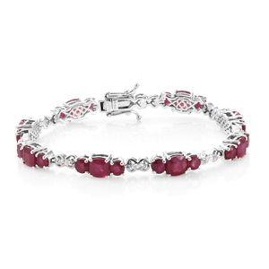 Niassa Ruby, White Topaz Platinum Over Sterling Silver Bracelet (7.25 In) TGW 23.10 cts.