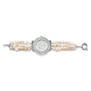 STRADA Freshwater White Pearl, Austrian Crystal Japanese Movement Watch on Bracelet in Silvertone with Stainless Steel Back Total Gem Stone Weight 74.00 Carat