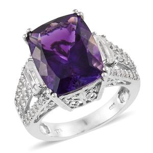 Moroccan Amethyst, White Topaz Platinum Over Sterling Silver Cocktail Split Ring (Size 6.0) TGW 11.90 cts.