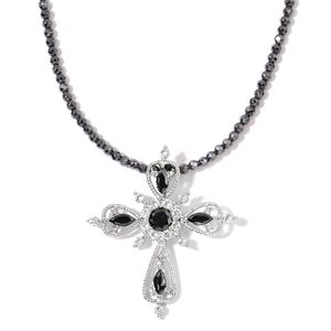 One Time Only Multi Gemstone, Hematite Stainless Steel Cross Pendant With Necklace (18 in) TGW 56.00 cts.