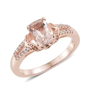 Marropino Morganite, Multi Gemstone Vermeil RG Over Sterling Silver Ring (Size 6.0) TGW 1.55 cts.
