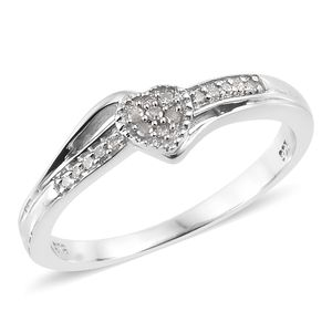 Diamond Platinum Over Sterling Silver Heart Ring (Size 8.0) TDiaWt 0.10 cts, TGW 0.10 cts.