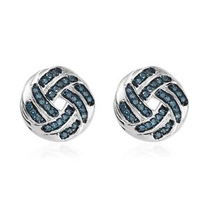 Blue Diamond (IR) Blue Rhodium and Platinum Over Sterling Silver Stud Earrings TDiaWt 0.33 cts, TGW 0.33 cts.