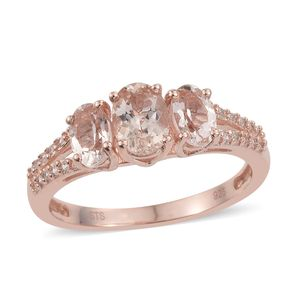 Marropino Morganite, Cambodian Zircon Vermeil RG Over Sterling Silver Ring (Size 7.0) TGW 1.72 cts.