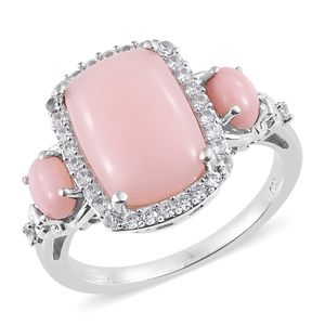 Peruvian Pink Opal, Cambodian Zircon Platinum Over Sterling Silver Ring (Size 10.0) TGW 5.95 cts.