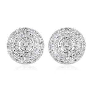 Diamond Platinum Over Sterling Silver Stud Earrings TDiaWt 1.00 cts, TGW 1.00 cts.