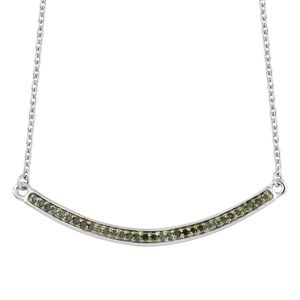 Green Diamond (IR) Green Rhodium & Platinum Over Sterling Silver Necklace (18 in) TDiaWt 0.20 cts, TGW 0.20 cts.