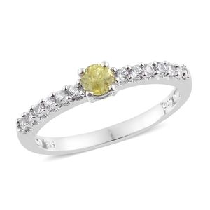 Madagascar Sphene, Cambodian Zircon Platinum Over Sterling Silver Ring (Size 7.0) TGW 0.71 cts.