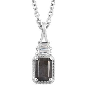 Natural Silver Sapphire, White Topaz Platinum Over Sterling Silver Pendant With Stainless Steel Chain (20 in) TGW 1.55 cts.