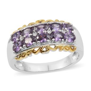 KARIS Collection - Simulated Amethyst, Cambodian Zircon ION Plated 18K YG and Platinum Bond Brass Ring (Size 7.0) TGW 2.60 cts.