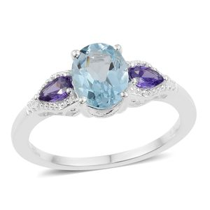 Sky Blue Topaz, Simulated Tanzanite Sterling Silver Ring (Size 7.0) TGW 2.72 cts.