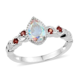 Mercury Mystic Topaz, Mozambique Garnet Sterling Silver Ring (Size 8.0) TGW 1.69 cts.