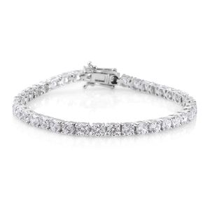 J Francis - Platinum Over Sterling Silver Bracelet (7.25 In) Made with SWAROVSKI ZIRCONIA TGW 18.90 cts.