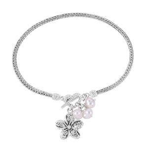 Bali Legacy Collection Freshwater Pearl Sterling Silver Bracelet with Flower Charm (8.00 In)