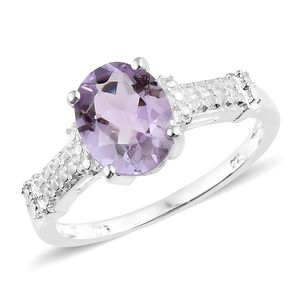 Rose De France Amethyst Sterling Silver Ring (Size 7.0) TGW 2.40 cts.