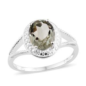 Green Amethyst Sterling Silver Split Shank Ring (Size 7.0) TGW 2.40 cts.