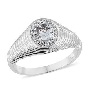 KARIS Collection - Brazilian Goshenite, Cambodian Zircon Platinum Bond Brass Men's Ring (Size 10.0) TGW 0.98 cts.