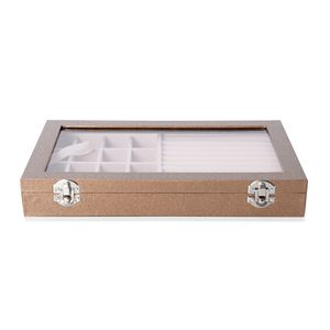 Light Brown Leatherette Paper Vine Pattern Jewelry Box with Transparent Acrylic Window and Lock (11.4x7.3x1.6 in)