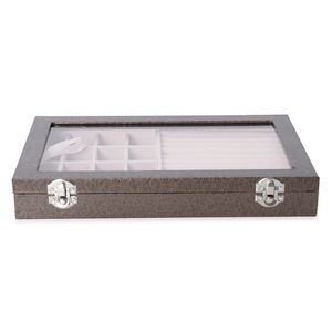 Coffee Leatherette Paper Vine Pattern Jewelry Box with Transparent Acrylic Window and Lock (11.4x7.3x1.6 in)