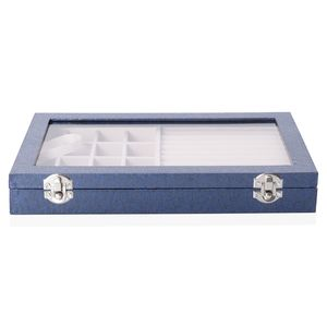 Blue Leatherette Paper Vine Pattern Jewelry Box with Transparent Acrylic Window and Lock (11.4x7.3x1.6 in)