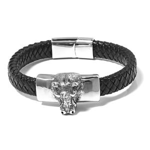 For Halloween Genuine Leather & Black Oxidized Stainless Steel Hippo Head Bracelet (8.50 In)