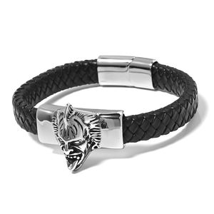 For Halloween Black Genuine Leather & Black Oxidized Stainless Steel Boy Angel Killer Clown Bracelet (8.50 In)