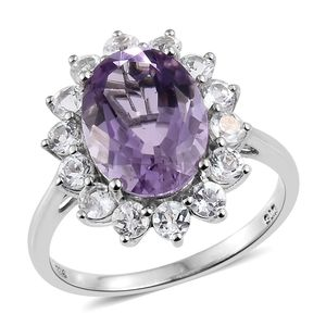 Rose De France Amethyst, White Topaz Platinum Over Sterling Silver Ring (Size 7.0) TGW 7.30 cts.