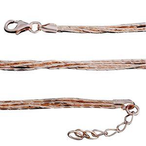 14K RG Over Sterling Silver Multi Strand Snake Drape Necklace (16-18 in) (15.7 g)