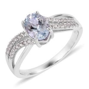 Espirito Santo Aquamarine, White Zircon Sterling Silver Ring (Size 8.0) TGW 1.43 cts.