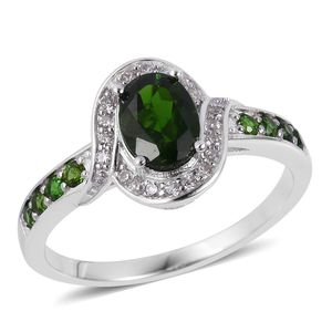 Russian Diopside, White Zircon Sterling Silver Ring (Size 8.0) TGW 1.90 cts.