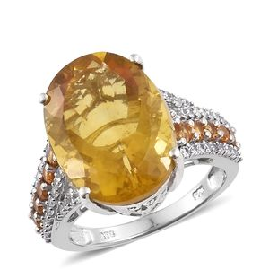 Canary Fluorite, Multi Gemstone Platinum Over Sterling Silver Cocktail Ring (Size 7.0) TGW 20.51 cts.