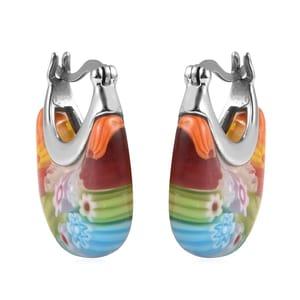 Murano Millefiori Glass Stainless Steel Basket Hoop Earrings