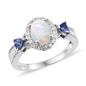 Customer Appreciation Day Ethiopian Welo Opal, Multi Gemstone Platinum Over Sterling Silver Ring (Size 7.0) TGW 2.00 cts.