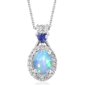 Customer Appreciation Day Ethiopian Welo Opal, Multi Gemstone Platinum Over Sterling Silver Pendant With Chain (20 in) TGW 1.72 cts.