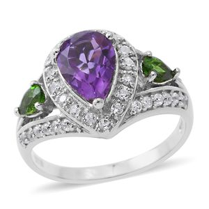 Rose De Maroc Amethyst, Multi Gemstone Platinum Over Sterling Silver Ring (Size 8.0) TGW 3.22 cts.