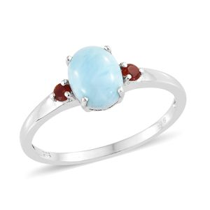 Larimar, Jalisco Cherry Fire Opal Platinum Over Sterling Silver Ring (Size 8.0) TGW 2.09 cts.