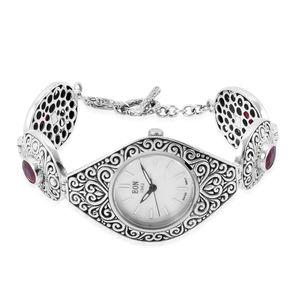 EON 1962 Niassa Ruby Swiss Movement Sterling Silver Water Resistant Bracelet Watch (7.50 In) TGW 13.47 cts.