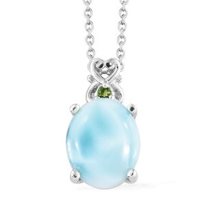 Larimar, Russian Diopside Platinum Over Sterling Silver Pendant With Chain (20 in) TGW 3.78 cts.