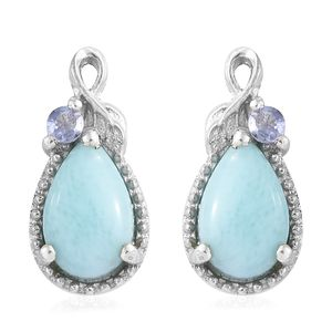 Larimar, Tanzanite Platinum Over Sterling Silver Earrings TGW 2.08 cts.